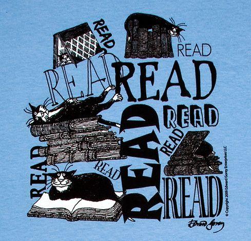 read by edward gorey: Cat Art, Heart Books, Gorey Books, Reading Reading, Books Ephemera, Libraries Posters, Edward Gorey, Books Lovers, Black Cat