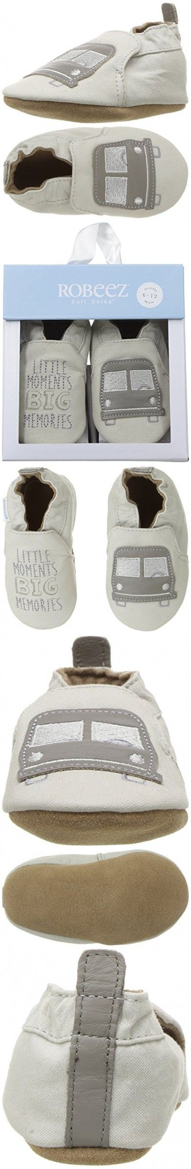 Robeez Boys' Puppy Love Crib Shoe, Big Bus Taupe, 12-18 Months M US Infant