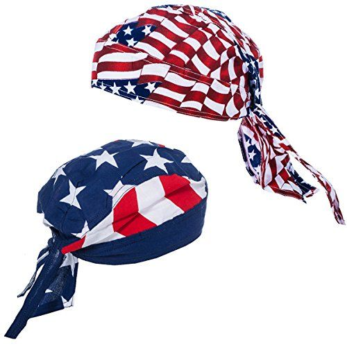 American Flag Durag - 2 Pack USA Doo Rag - Dew Rags for Men - Patriotic Skull Caps by CoverYourHair  Show Your American Pride with these Patriotic American Flag Durags  This Set Includes 2 Doo Rags, with 2 different USA Patterns  Dew Rags are Great Wear for Comfort, Bad Hair Days or any Patriotic Party or Event  Soft Light Material, Tie it in the Back, to Fit Your Head The Most Comfortable Way  Show your American pride on July 4th and Memorial Day with these Biker Caps