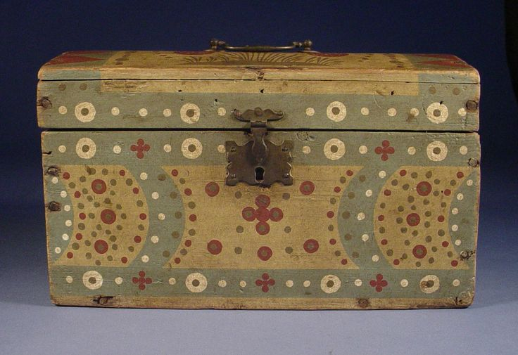 Vibrant Paint Decorated Document Box Seville Ohio 1820 1840  Folk Art | eBay  sold   970.00.    ...~♥~