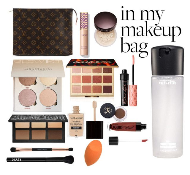 """warm makeup bag"" by catalina-marie-cuevas on Polyvore featuring beauty, Louis Vuitton, tarte, Wet n Wild, Laura Mercier, Benefit, MAC Cosmetics and NYX"