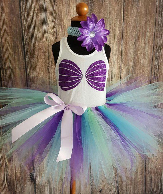bfc80e1f810d Girls Tutu Little Mermaid Outfit, Blue Purple Mermaid Birthday Set, Ariel  Tutu, Mermaid Tutu Set, Gl