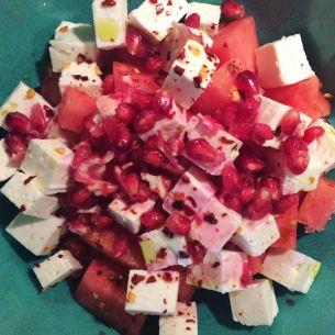 Vattenmelonsallad med feta och granatäpple