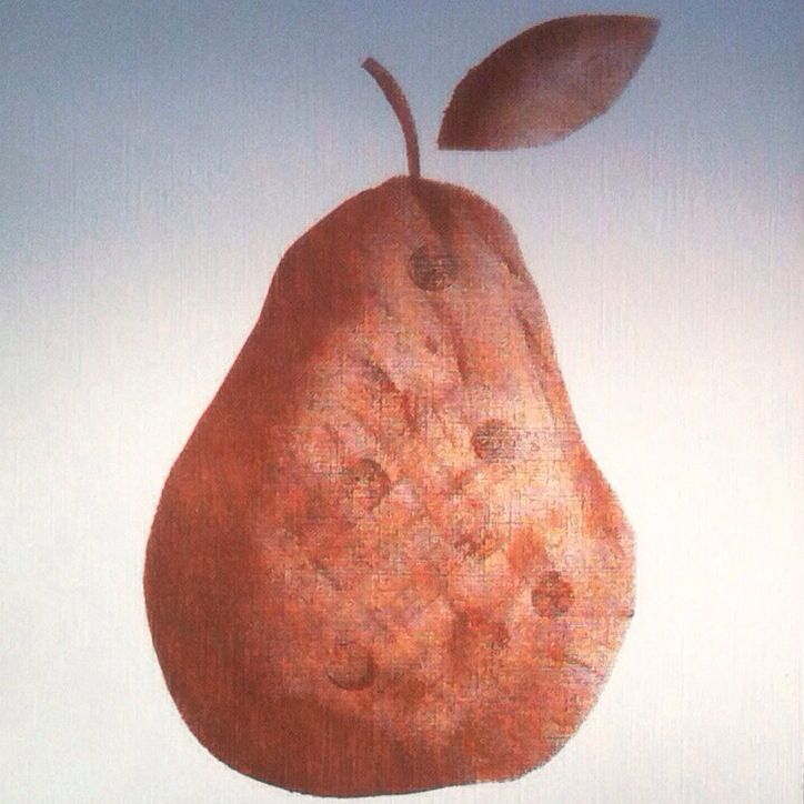 Close up of 'spotted pear' hand-painted in metallic copper paint onto 290gsm canvas art paper by Claire Webber, Hobart, Tasmania  webberclaire1@gmail.com