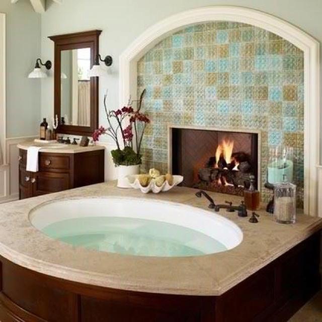 Dream bathroom!: Dreams Home, Bath Tubs, Bathtubs, Fireplaces, Dreams House, Dreams Bathroom, Master Bath, Hot Tubs, Fire Places