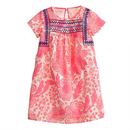 J.Crew - Girls' pink floral embroidered dress