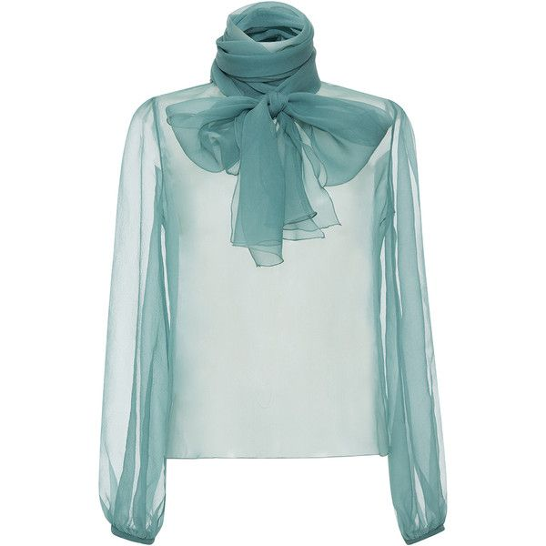 Blumarine Neck Tie Blouse found on Polyvore featuring tops, blouses, blumarine, see through blouse, silk necktie, sheer blouse, sheer long sleeve blouse and tie neck blouse