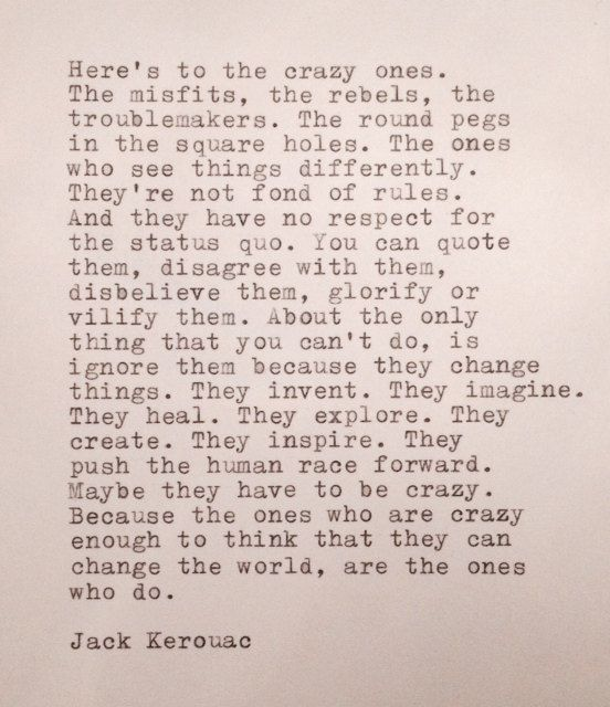Jack Kerouac Hand Typed Quote Made on Typewriter