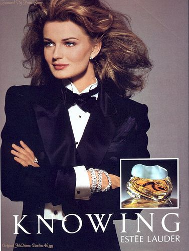 "Paulina Porizkova pour Knowing d'Estée Lauder. I totally forgot how much I loved this perfume. ""Knowing is all."""