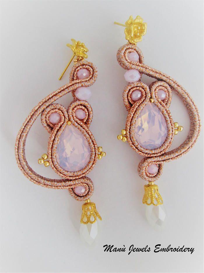 orecchini soutache rose gold opal di ManuJewelsEmbroidery su Etsy