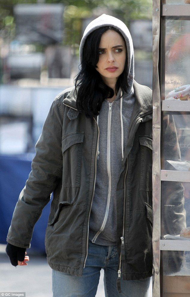 Not so super now: Krysten plays ex-superhero Jessica Jones, though her appearance was less than super on set for the Netflix original series