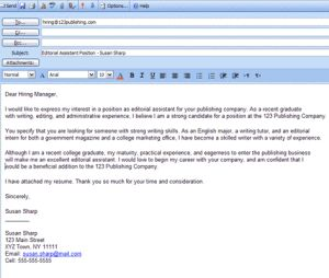 Formatted Job Search Email Message Examples: Formatted Sample Email Cover Letter Example