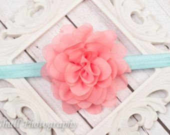 Shabby Rose Headband Coral & Aqua Headband by RusticRoadBoutique