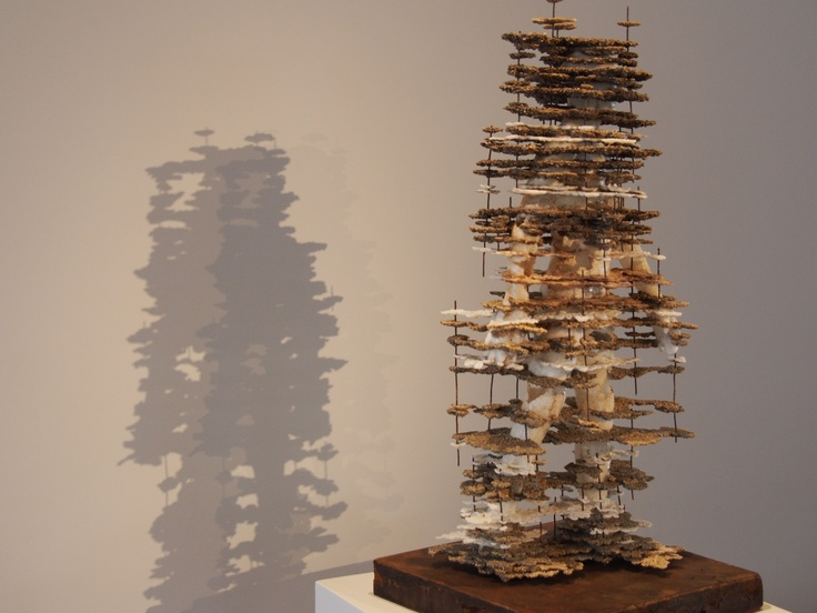 """Past, Present, Future  Cyrus Tilton (2013)  Private Collection   Represented by Lonnie Lee  26 x 8 x 11""""  hydrated alumina, epoxy, wire (concrete base)  Vessel Gallery  www.vessel-gallery.com  510  893 8800  Private collection"""