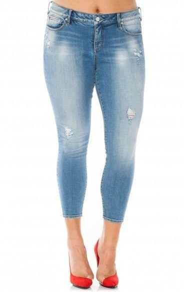 SLINK Jeans Distressed Stretch Ankle Skinny Jeans (Samantha) (Plus ...