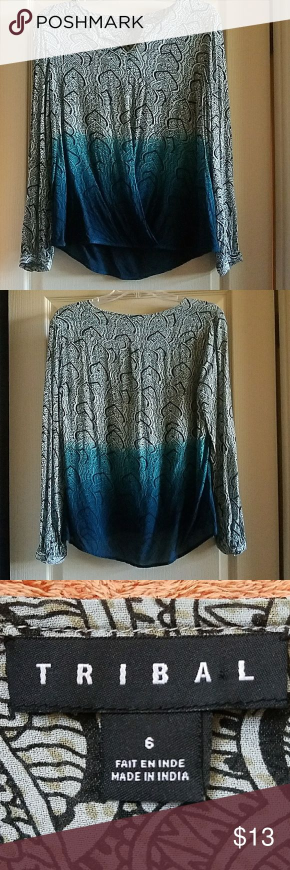 Tribal women's blouse Tribal women's blouse, teal dip dyed, long sleeve, high low hem  Rayon Size 6 Excellent, like-new condition, worn only once Tribal Tops Blouses