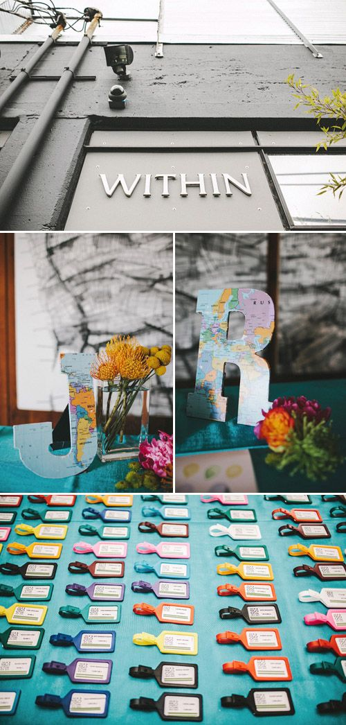 Colorful luggage tags for the guests and creative decor at this modern Seattle wedding, photos by Benj Haisch via JunebugWeddings.com