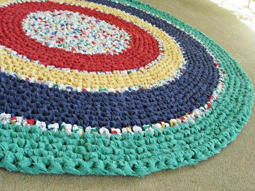 "crochet rag rug   Crochet rag rug - primary colors. Recycled, eco, repurposed, 31"" round ..."