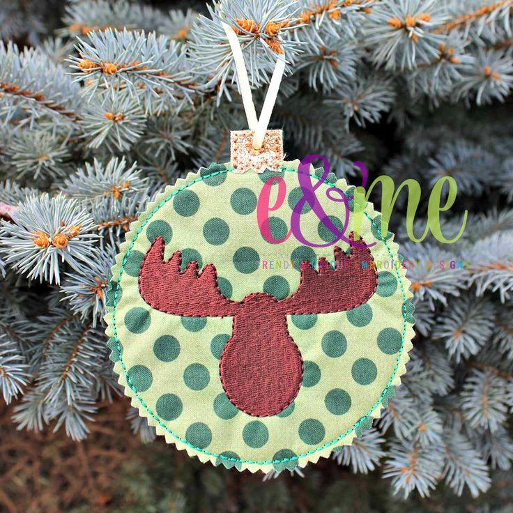 Moose Silhouette Ornament Embroidery Design - E&Me Designs