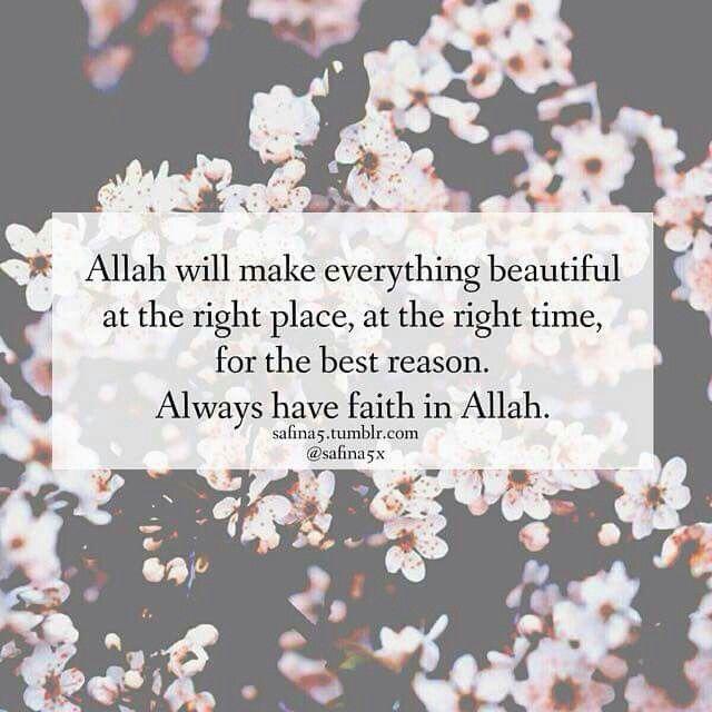 Have faith in Allah. .