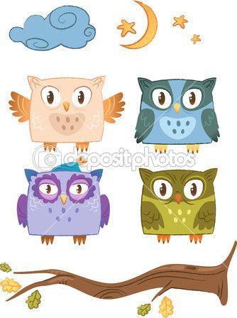 Вектор совы семья — стоковая иллюстрация #16216463