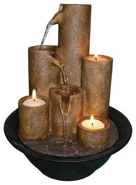 Rustic - Lodge Three Candles Tabletop Fountain traditional indoor fountains