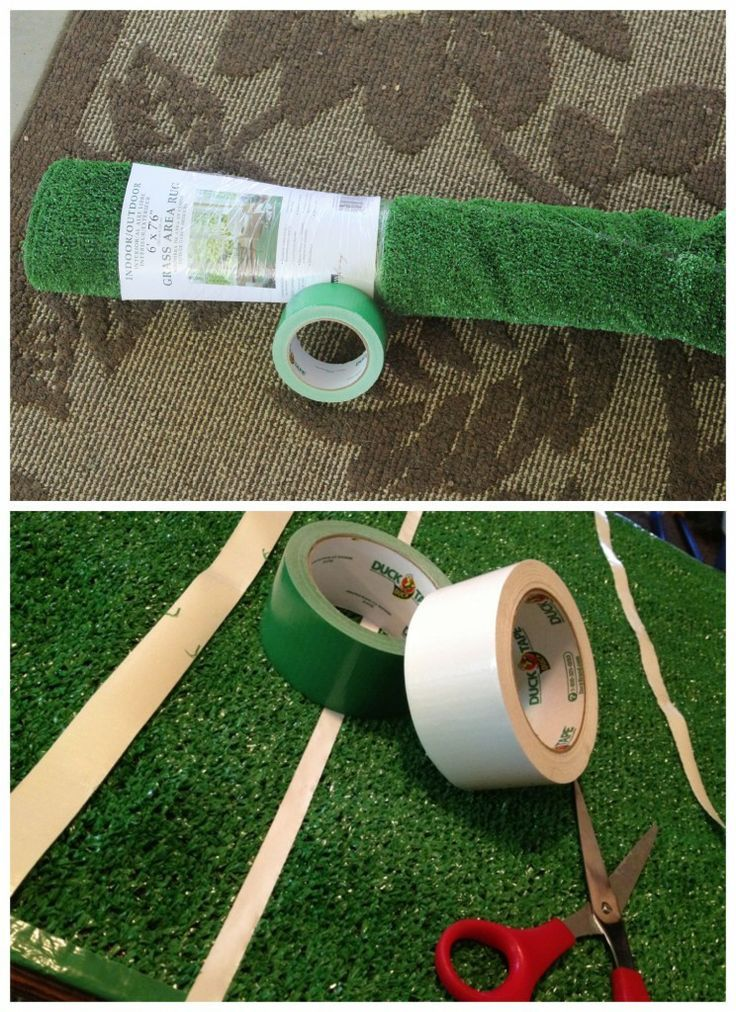 This DIY football field is perfect decor for at-home game watching…or you can roll it up and take it with you to the tailgate! | Living Home