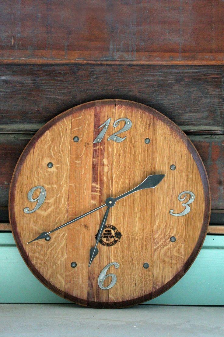Wine barrel cover repurposed as a clock