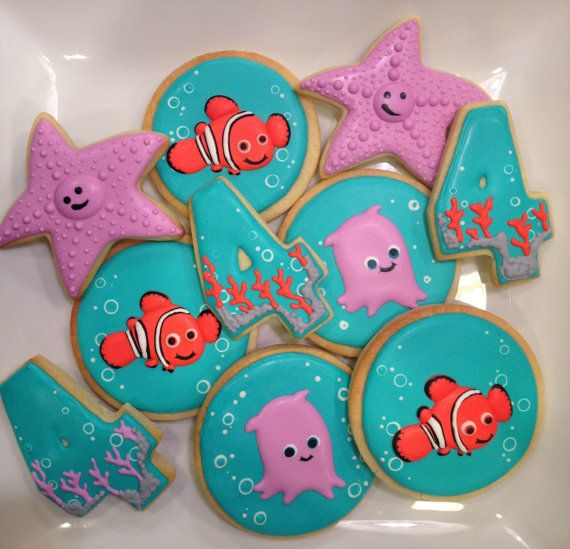 Nemo and Friends Decorated Sugar Cookies 1 dozen by LaPetiteCookie, $38.00