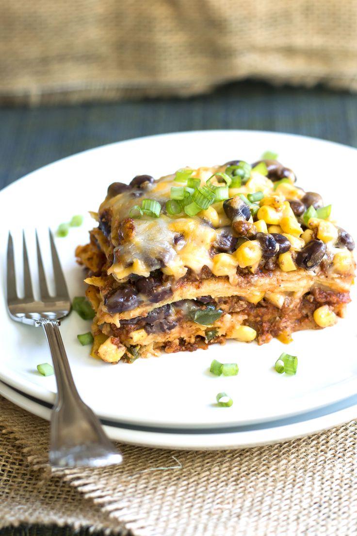 Turkey Taco Mexican Lasagna | A gluten free Mexican lasagna full of turkey, spices, veggies, cheese and corn tortillas.