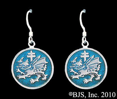 Order of the Dragon Vlad the Impaler Dracula Colored Enamel Earrings in Sterling Silver @ niftywarehouse.com #NiftyWarehouse #Dracula #Vampires #ClassicHorrorMovies #Horror #Movies #Halloween #Vampire