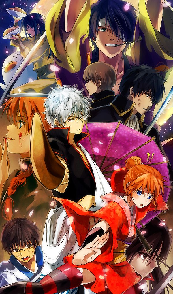 Tags: Anime, Gin Tama, Pointing, Cherry Blossom, Cigarette, Sakata Gintoki, Takasugi Shinsuke