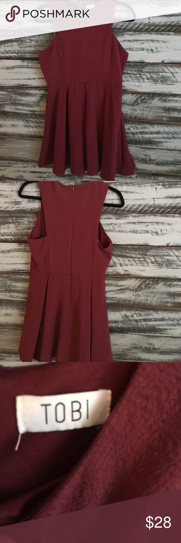 Burgundy skater dress Cute skater dress! Can dress up or down! Tobi Dresses Mini