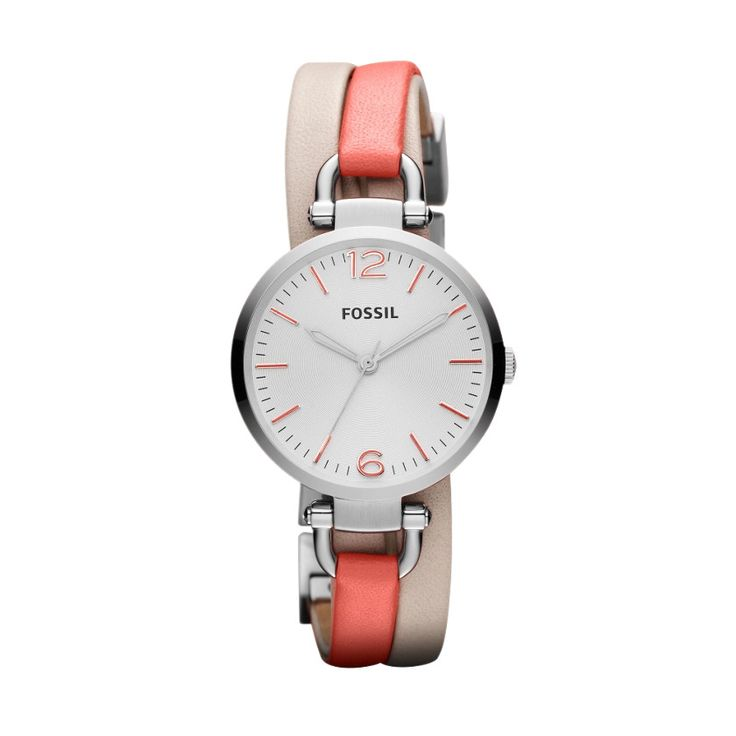 FOSSIL® Watch Styles Leather Watches:Women Georgia Leather Watch – White and Coral ES3222