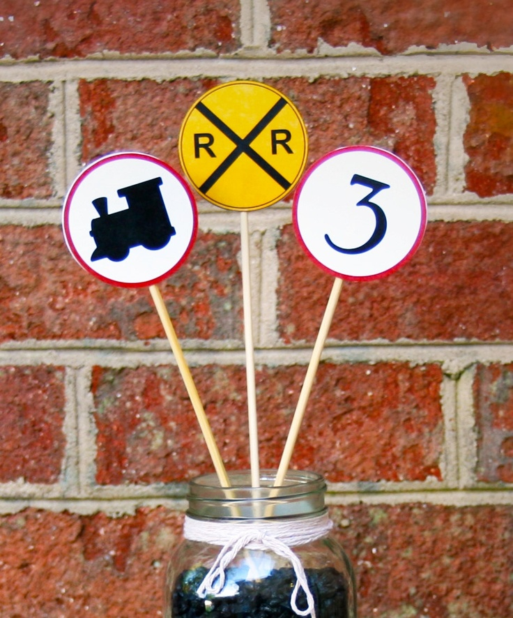 Train Theme Birthday Party Accent Signs Set of 12. $9.99, via Etsy.