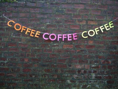 COFFEE COFFEE COFFEE Get your coffee fix with Lorelai Gilmore inspired letter banner   Handmade party decorations Check out our store - paperstreetdolls.etsy.com