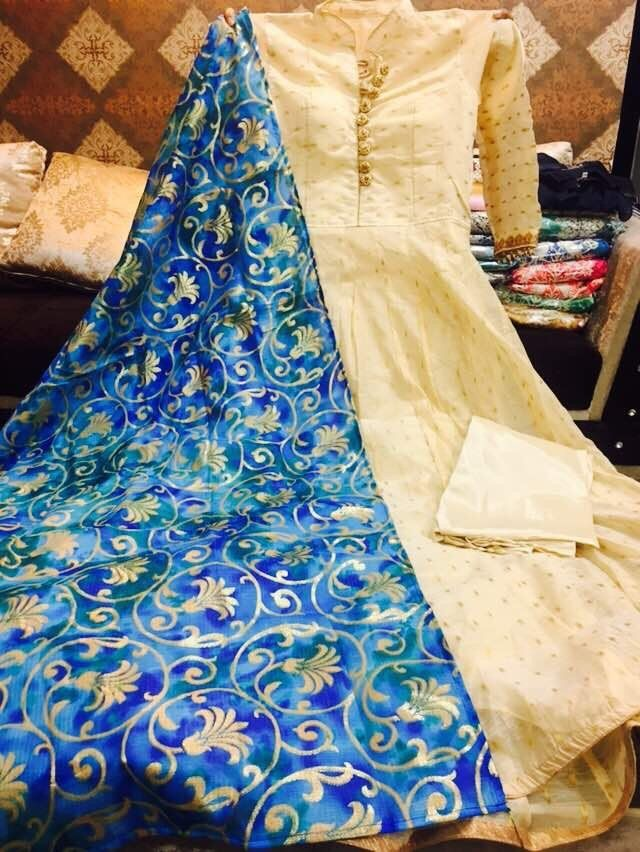 Chanderi Silk Anarkali suits with silk printed dupatta. Size upto 40.