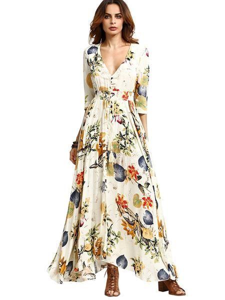 2d7e9e19efc Milumia Women s Button Up Split Floral Print Flowy Party Maxi Dress ...