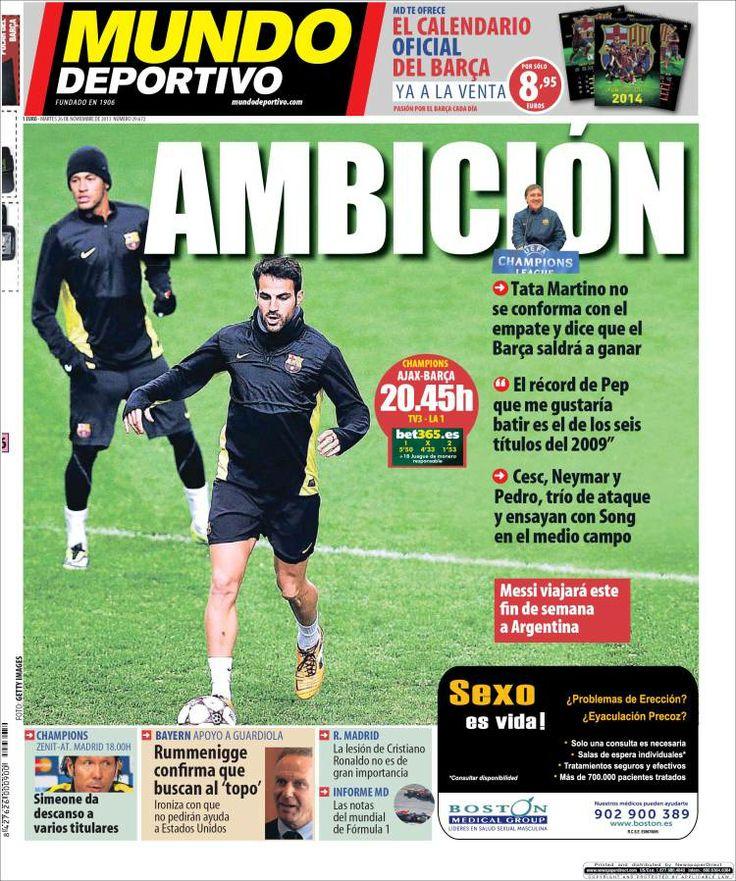 Los Titulares y Portadas de Noticias Destacadas Españolas del 26 de Noviembre de 2013 del Diario Mundo Deportivo ¿Que le pareció esta Portada de este Diario Español?