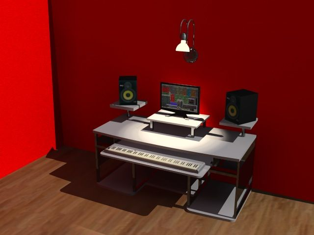 music studio desk like ours need monitor stands bigger. Interior Design Ideas. Home Design Ideas