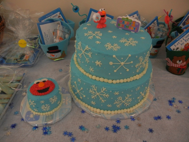 Elmo winter ONEderland birthday cake and smash cake for