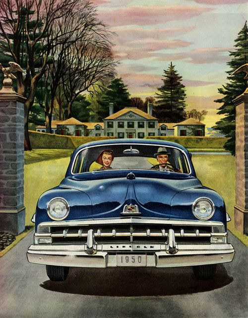 The good life in a 1950 Lincoln @@@.....https://es.pinterest.com/peggyaltick/art-of-transportation/