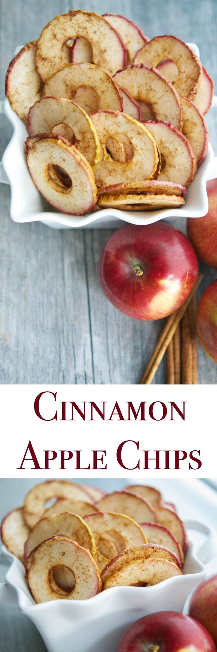 Cinnamon Apple Chips, made with a few simple ingredients like McIntosh apples, cinnamon and sugar are a healthy snack your whole family will love. via @CarriesExpKtchn