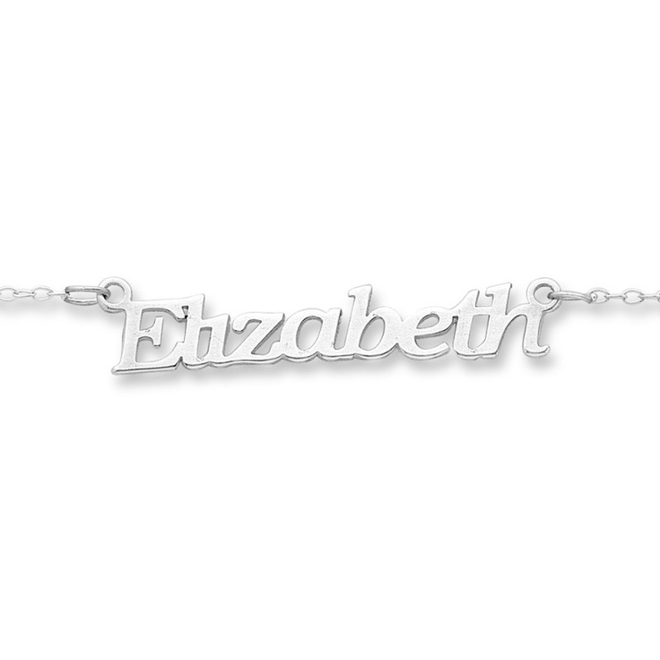 Sterling Silver Name Necklace Flat Font