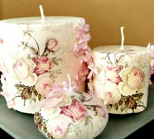 Handmade candles decoupage