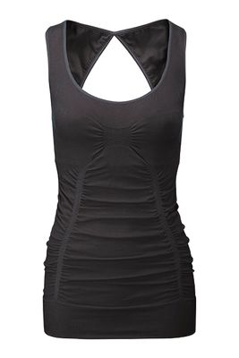 Wellicious Sweat It tank - Pebble grey - $124.95 - From high impact workouts to yin class, this is a feminine and flattering tank to suit all workouts.  Featuring a clever use of panelling and ruching with gathering at the front and a beautiful cut out in the back plus the integrated inside bra giving adequate support. #fireandshine #yoga #fashion #ethical #activewear #loungewear #wellicious #newarrival #justarrived