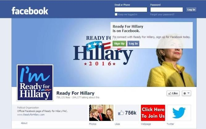 """If you're """"Ready For Hillary"""" Clinton in 2016, show your support and Like her page on Facebook! It's gaining more momentum w/ each passing day, and you can use this public link to get there!"""