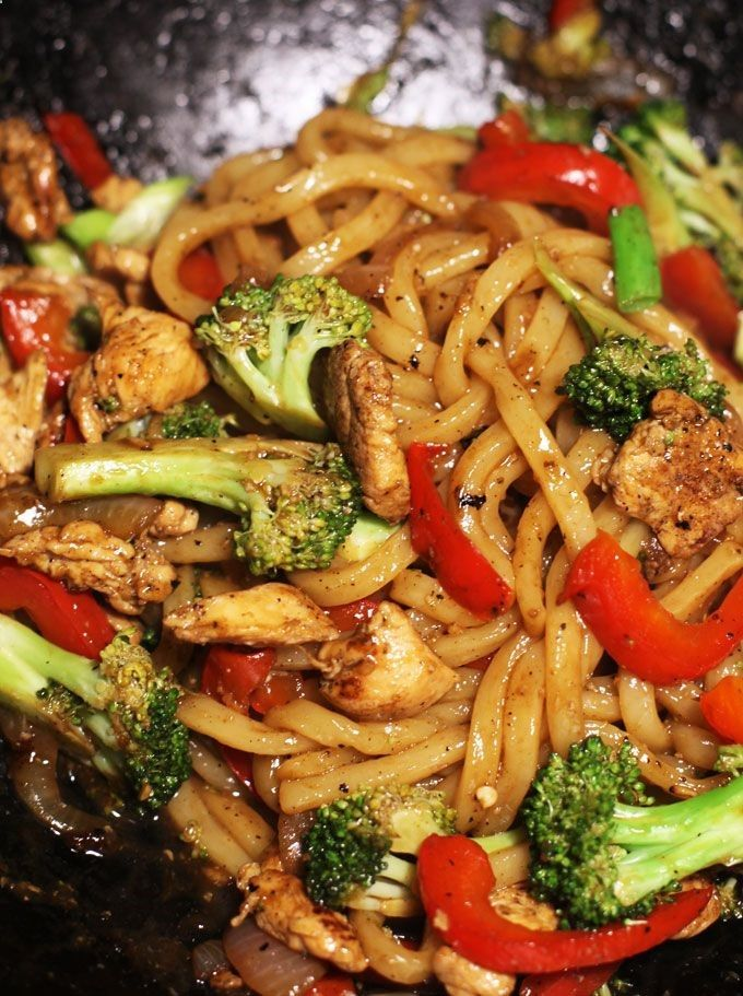 Yaki udon- Japanese noodle stir-fry dish with veggies and chicken.