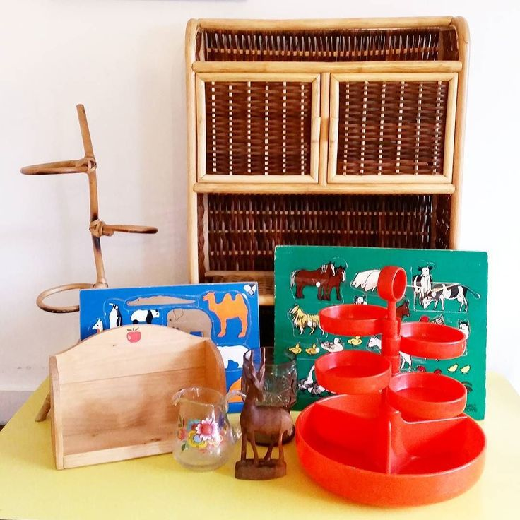 Today's finds! Realised when we got home that the wicker/bamboo shelf is not actually old but it's got that fab 70s boo style so we're offering it up for just 8.00 plus courier or local collection! (It was in its original bag so has never been used  see stories for more details!)