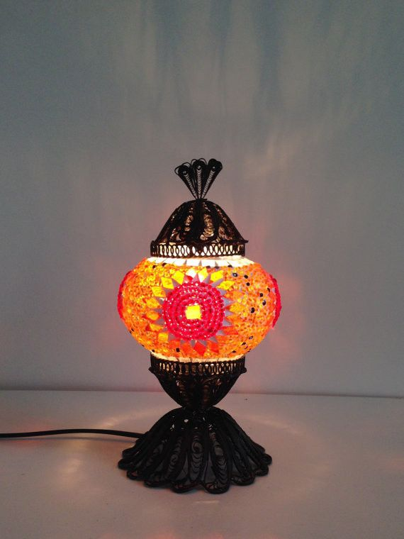 Orange Turkish Mosaic lamp with hand crafted copper base